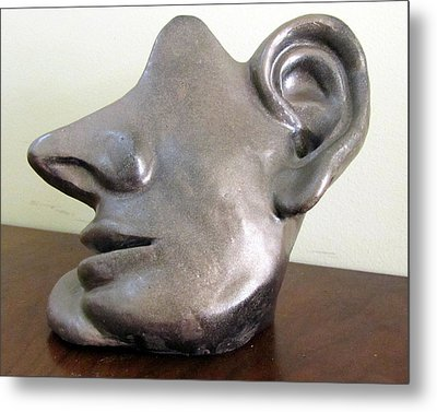 I Am All Ears Head Face With Ears Only Large Nose No Eyes Huge Ears Metal Print by Rachel Hershkovitz