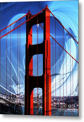 I Left My Heart In San Francisco . Golden Gate Bridge Metal Print by Wingsdomain Art and Photography