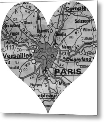 I Love Paris In Black And White Metal Print by Georgia Fowler