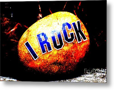 I Rock Inspirational Juvenile Licensing Metal Print by Anahi DeCanio