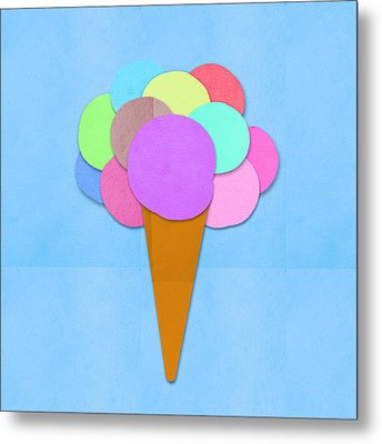 Ice Cream On Hand Made Paper Metal Print