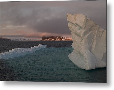 Ice Formations Float In Blue Water Metal Print