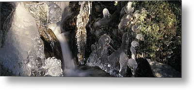 Ice Is Enrusting A Waterfall Metal Print by Ulrich Kunst And Bettina Scheidulin