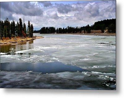 Ice On The Yellowstone River Metal Print by Ellen Heaverlo