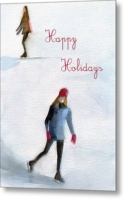 Ice Skaters Holiday Card Metal Print