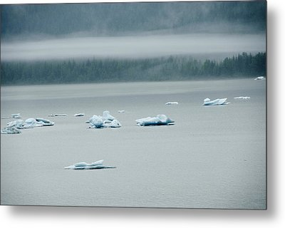 Icebergs Floating In The Sea Metal Print by James Forte