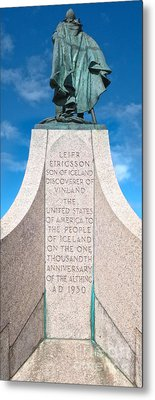 Iceland Leif Erricson Statue Metal Print by Gregory Dyer