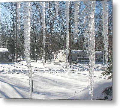Metal Print featuring the photograph Icicles Through The Window Glass by Pamela Hyde Wilson