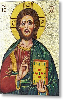 Icon Of Jesus As Christ Pantocrator Metal Print by Ion vincent DAnu