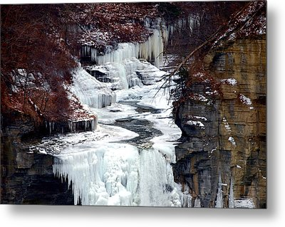 Icy Waterfalls Metal Print by Paul Ge