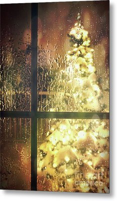 Icy Window With Holiday Tree Full Of Lights Metal Print by Sandra Cunningham