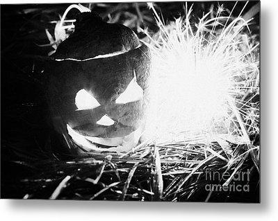 Illuminated Halloween Turnip Jack-o-lantern With Sparkler To Ward Off Evil Spirits Metal Print by Joe Fox