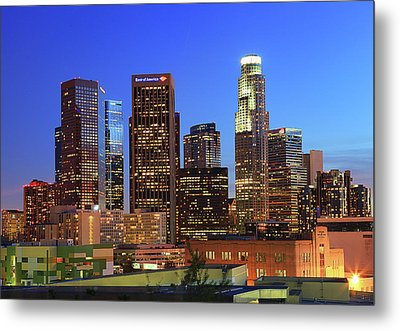 Illuminated Of Downtown Skyscrapers Metal Print by Kenny Hung Photography