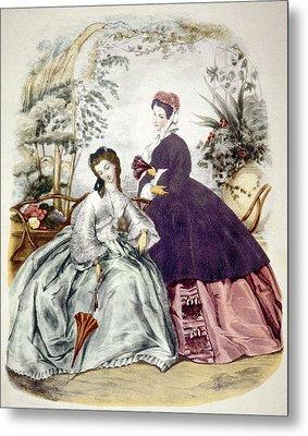 Illustration Of 19th Century Fashions Metal Print by Everett