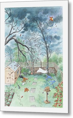 Illustration Of A Garden During A Storm Metal Print by Dorling Kindersley