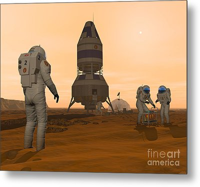 Illustration Of Astronauts Setting Metal Print by Walter Myers