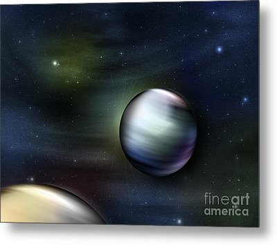 Illustration Of Planets In Outer Space Metal Print by Vlad Gerasimov