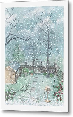 Illustration Of Rain Or Wet Snow Against A Window Looking Out Onto A Garden Metal Print by Dorling Kindersley