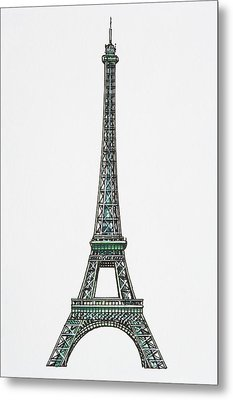Illustration Of The Eiffel Tower Metal Print