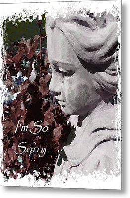 I'm So Sorry Angel Card Metal Print