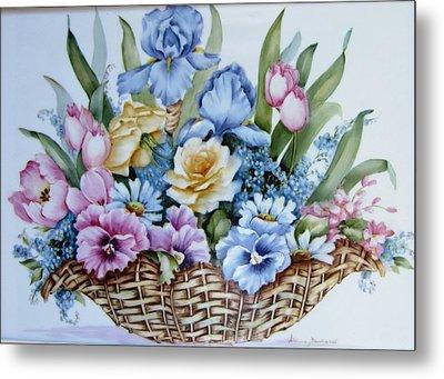 Image 1119 Flower Basket Metal Print by Wilma Manhardt