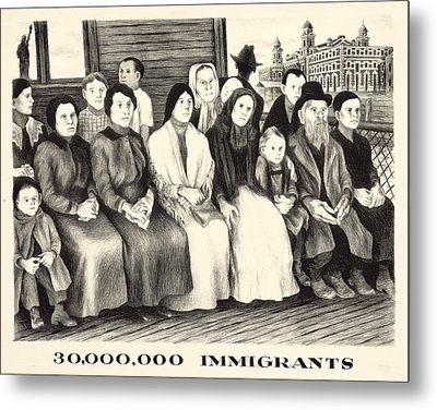 Immigrants. Shows A Group Of Immigrants Metal Print by Everett