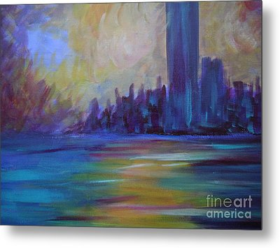 Impressionism-city And Sea Metal Print by Soho
