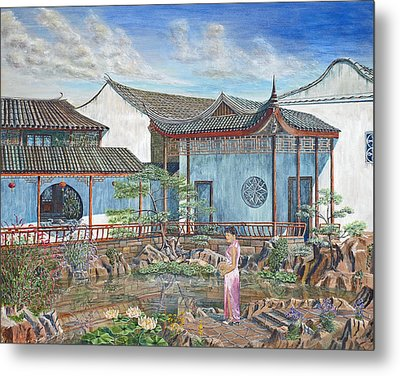 In A Chinese Garden Metal Print