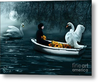 Metal Print featuring the digital art In Santa Pace Maiden by Rosa Cobos