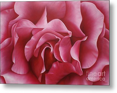 In The Heart Of A Rose Metal Print by Paula Ludovino