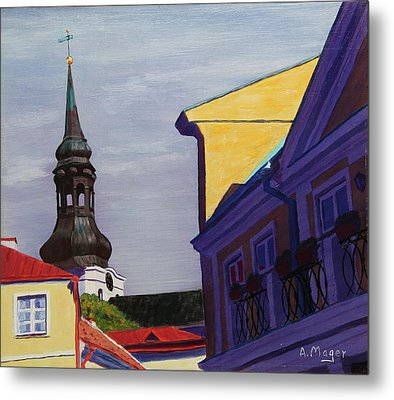 In The Heart Of Tallinn Metal Print by Alan Mager