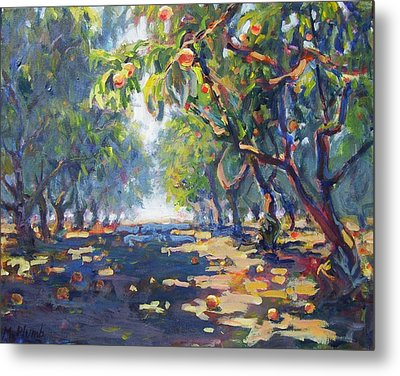 In The Peach Orchard Metal Print by Margaret  Plumb