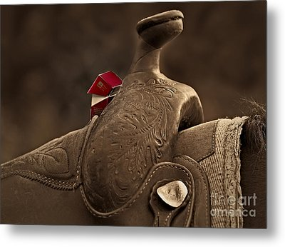 In The Saddle Metal Print by Susan Candelario
