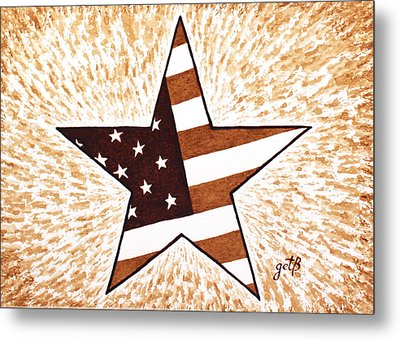 Independence Day Star Usa Flag Coffee Painting Metal Print by Georgeta  Blanaru