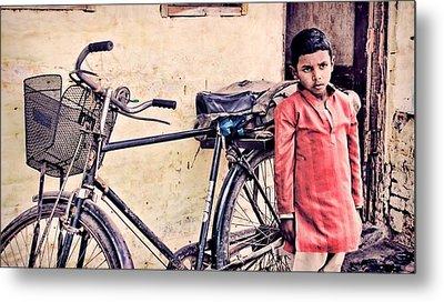 Indian Boy With Cycle Metal Print by Parikshat sharma