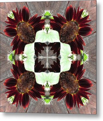 Metal Print featuring the digital art Indian Red Sunflowers by Trina Stephenson