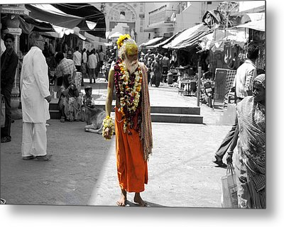 Indian Sadhu At A Religious Spot In India Metal Print by Sumit Mehndiratta