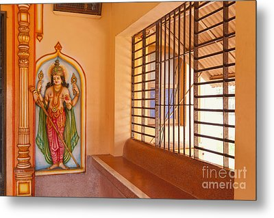 Indian Temple Bench And Artwork Metal Print by Inti St. Clair