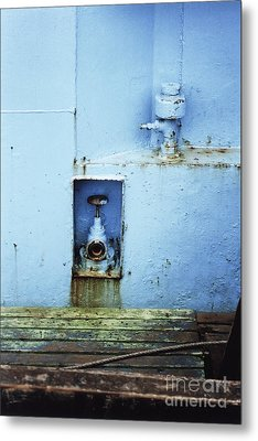 Industrial Detail In Turquoise Blue Metal Print by Agnieszka Kubica