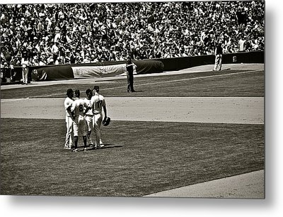 Metal Print featuring the photograph Infield Meeting by Eric Tressler