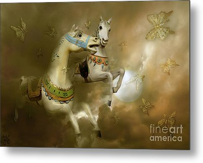 Metal Print featuring the digital art Infinity Horses And  Butterflies by Rosa Cobos
