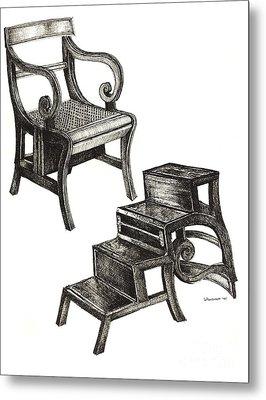 Ink Drawing Of Regency Metamorphic Chair Metal Print by Adendorff Design
