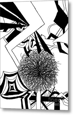 Ink Line Drawing Metal Print by Christine Perry