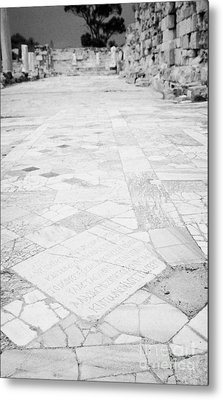 Inscription In The Floor Tile Of The Gymnasium Stoa Ancient Site Salamis Famagusta Metal Print by Joe Fox