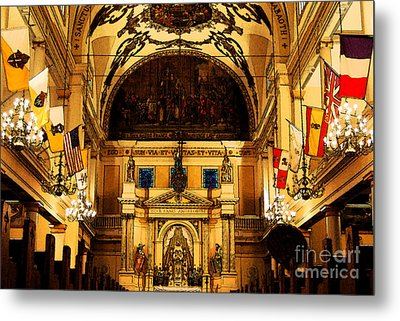 Inside St Louis Cathedral Jackson Square French Quarter New Orleans Fresco Digital Art Metal Print by Shawn O'Brien