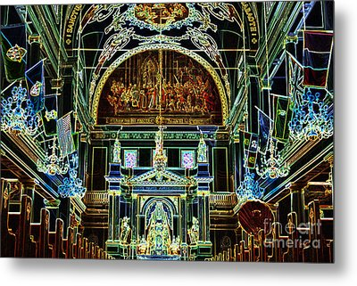 Inside St Louis Cathedral Jackson Square French Quarter New Orleans Glowing Edges Digital Art Metal Print by Shawn O'Brien