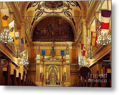 Inside St Louis Cathedral Jackson Square French Quarter New Orleans Poster Edges Digital Art Metal Print by Shawn O'Brien
