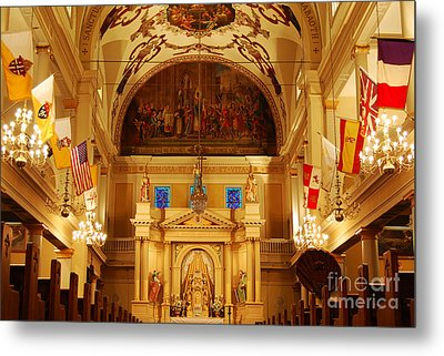 Inside St Louis Cathedral Jackson Square French Quarter New Orleans Metal Print by Shawn O'Brien