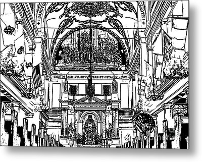 Inside St Louis Cathedral Jackson Square French Quarter New Orleans Stamp Digital Art Metal Print by Shawn O'Brien