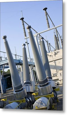 Insulators At Electricity Substation Metal Print by Mark Williamson